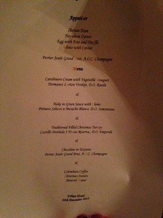 Hotel Urban: le magnifique menu proposé qui accompagne les photos des superbes plats