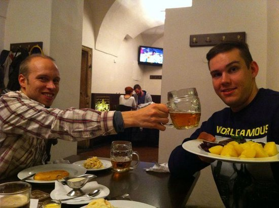 Lokal - U Bile Kuzelky: tasty food with fresh beer...and happy faces.