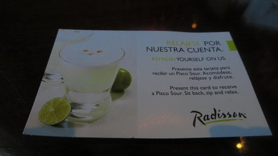 NH Collection Plaza Santiago: Coupon for free Pisco Sour