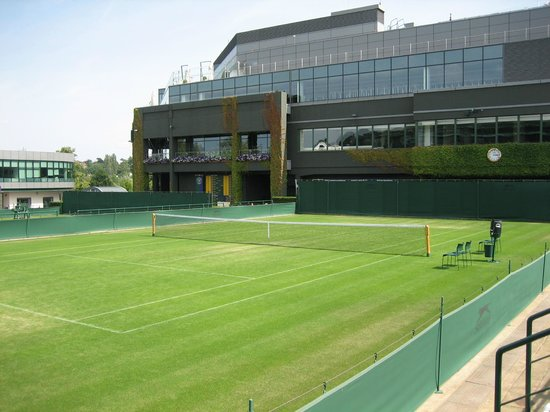 Wimbledon Lawn Tennis Museum: Looking back towards Centre Court Complex from outside courts