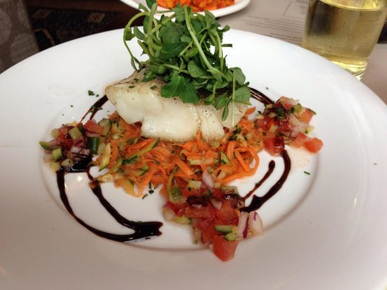 Boathouse : Sunday lunch: roast cod loin with grated carrot, courgette, salsa and balsamic glaze.  You'll wa