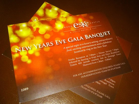 Lough Eske Castle, a Solis Hotel & Spa: tickets clearly state 730pm dinner