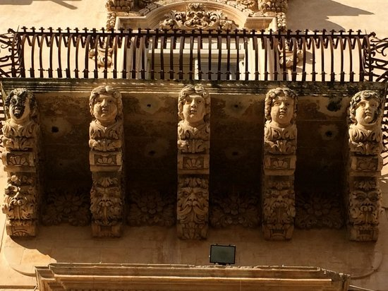 Late Baroque Towns of the Val di Noto: favorite balcony in Palazzo Nicolaci