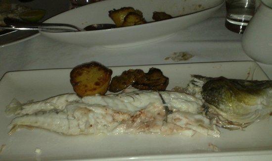 Assaggi: My share of sea bass + head.