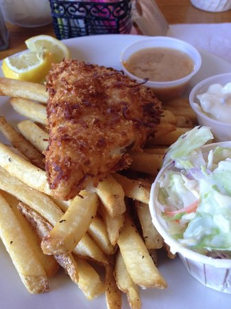 O.C. White's Seafood & Spirits: Coconut fried flounder and chips