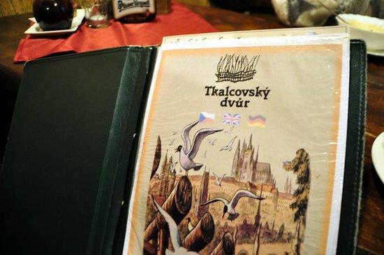 Tkalcovsky Dvur: Inn's menu