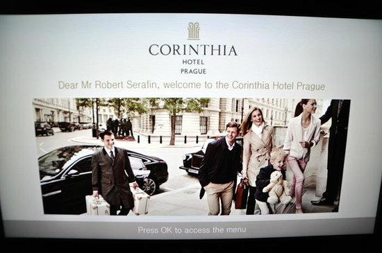 Corinthia Hotel Prague: TV-set's welcome screen