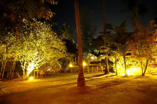 The Andaman Sunflower Resort & Spa : The gardens at night