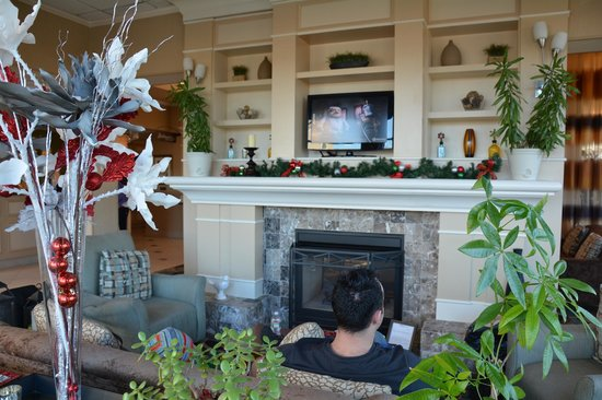 Hilton Garden Inn Ridgefield Park: Sala de descanso com tv e chaminé. Muito agradavel