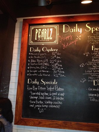 Pearlz Oyster Bar: Oyster Menu