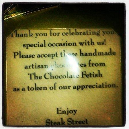 Anniversary gift from Steak Street