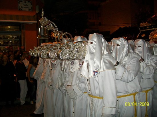 "Nuestra Señora de Los Remedios: Easter processions - carrying the silver-encrusted ""throne"" with its statue"