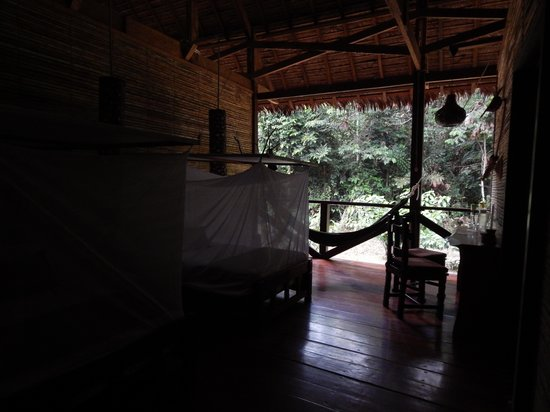 Refugio Amazonas: Rooms with mosquito netted beds, open to the forest