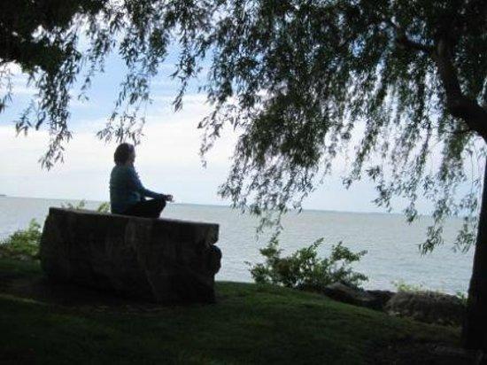 Lakeside Chautauqua: Meditation rock on Lakefront walkway