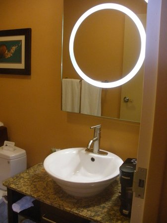 Mariposa Inn and Suites: cool bathroom mirror and sink