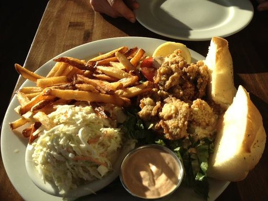 Matunuck Oyster Bar: Fried oyster po boy comes with fries, cole slaw