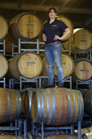 Briar Ridge Vineyard and Winery : Our Chief Winemaker Gwyn Olsen in the barrel room