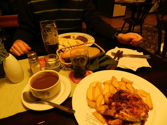 U Červeného páva: Our meals and a bowl of goulash soup