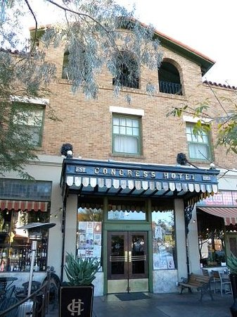 The Historic Hotel Congress: outdoor patio side of hotel