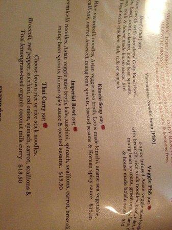 Lotus Organic Restaurant Bar Bakery : New Menu Jan '14
