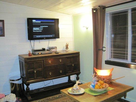 Norton North Ranch Cottages: Cowboy Cabin - Living Room - Satellite TV, DVDs