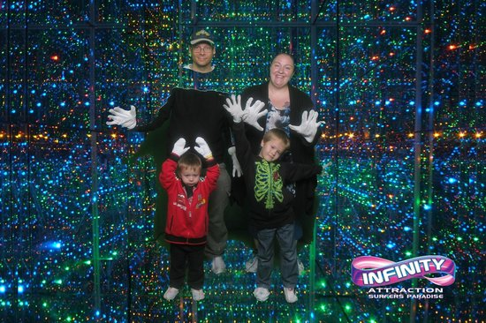 Our family at the Infinity attraction, Gold Coast