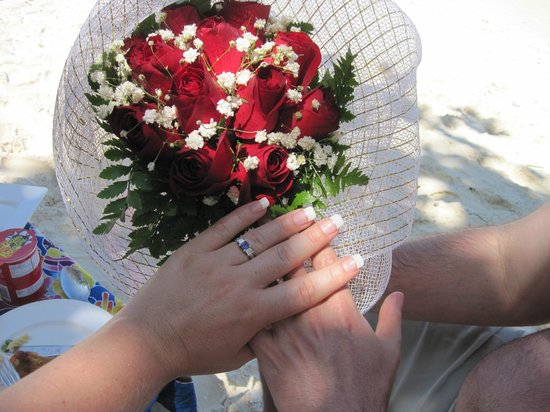 Coral Seekers: Joining Hands Showing Engagement Ring and Roses