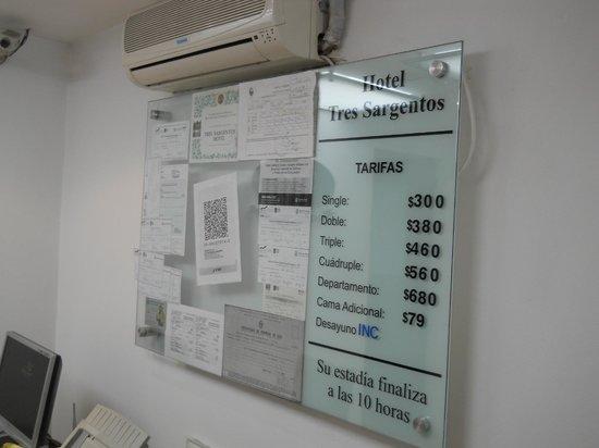Hotel Tres Sargentos: Rates