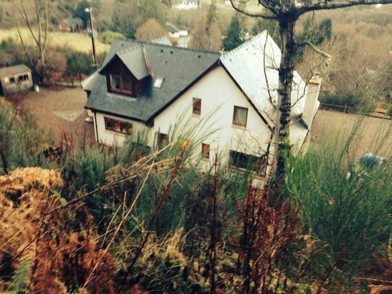 Lodges on Loch Ness: Back of the house from hill above
