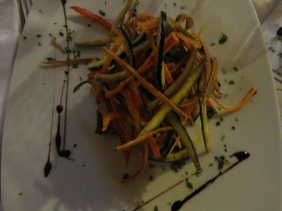 Ristorante Il Liberty: Layered aubergines topped with deep fried julienne vegetables