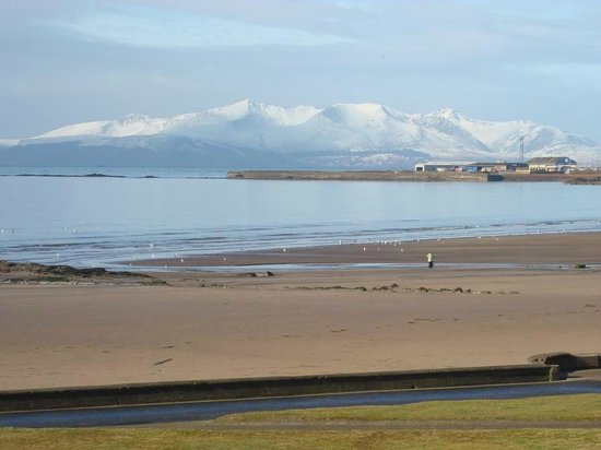 Winter scene view of the Isle of Arran from Saltcoats Beachl
