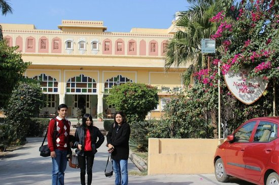 Naila Bagh Palace: Front View of Hotel (Son, Daughter, Wife in Pic)