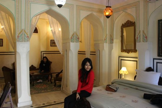 Naila Bagh Palace: View of Royal Room 105 (Daughter & Wife in Pic)