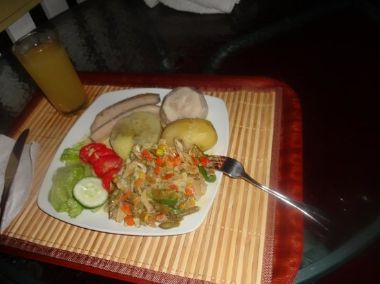 Good Hope Retreat : First meal...ackee and saltfish with ground food