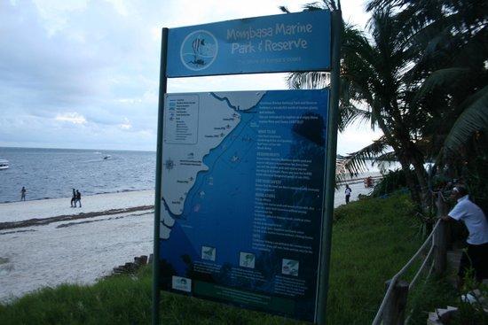 Sarova Whitesands Beach Resort & Spa : marine park, sign post