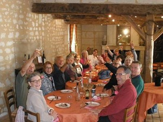 Loire Wine Tours - Day Tours: Enjoying lunch with guests in the wine room at Enchatoir