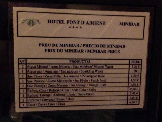 Font D'Argent Hotel: Mini bar prices Jan 2014