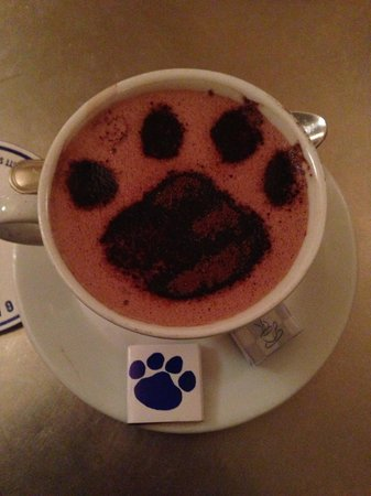 Cafe Gitane : My little paw print hot chocolate :)