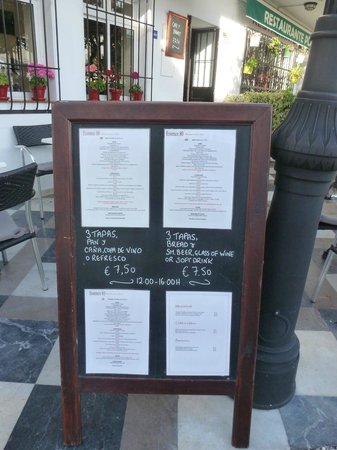 Restaurante La Nina : The menu