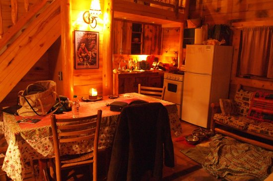 Pioneer Guest Cabins : Kitchen/dining area in the Cottonwood cabin