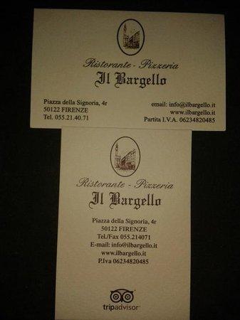 Il Bargello: Biglietto da visita