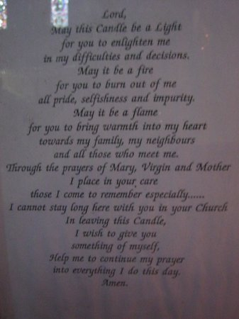 St. Mary's Cathedral: Prayer of cathedral wall (next to candles)
