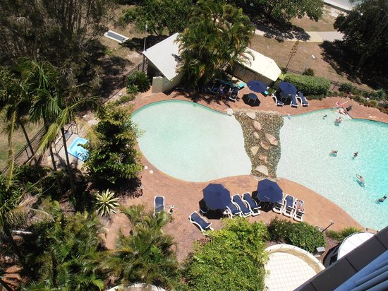 Gemini Resort: view of pool from 7th floor North Tower room 62