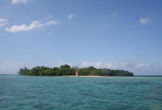 Booby Cay Island as you approach from 7 mile beach