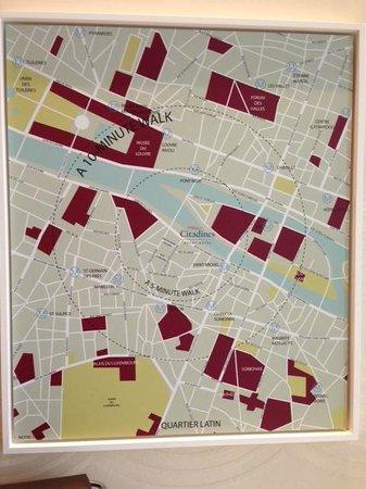 Citadines Saint-Germain-des-Pres Paris: Map in Hotel