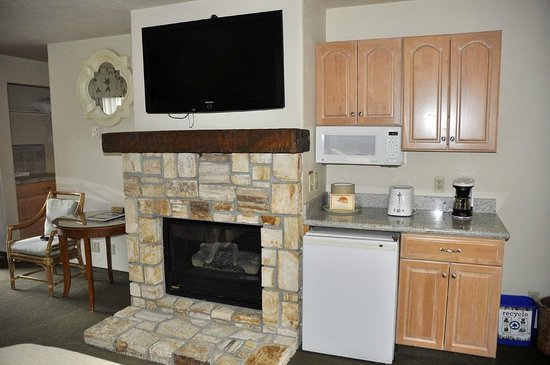 Horizon Inn & Ocean View Lodge : Cute fireplace, big TV, mini-kitchenette