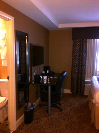 Aashram Hotel by Niagara River: Good size TV and coffee maker in room, plus a bar fridge