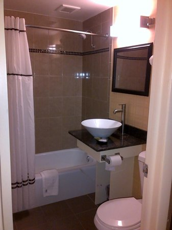 Very Clean and modern. Shower roomy due to wide shower curtain rod ...