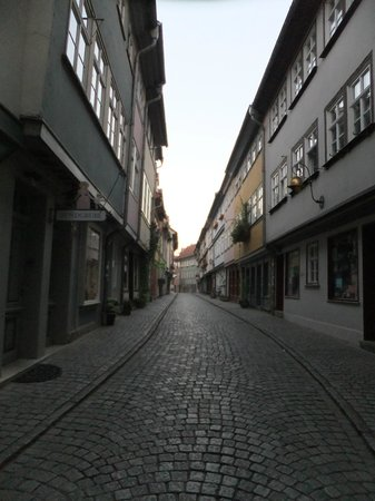 Krämerbrücke: This is an early morning view of the Merchant's Bridge shops in Erfurt.