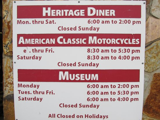 American Classic Motorcycle Museum: Schedule